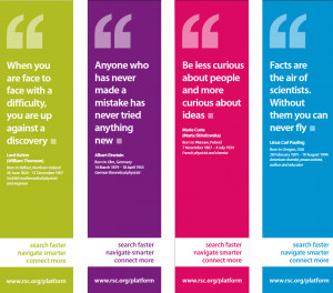 ... follow a bold colour theme of four quotes from four famous scientists