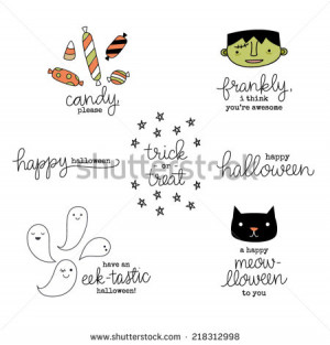 Cute Hand Lettered Punny Halloween Phrases,