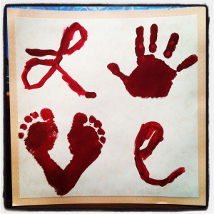 Foot and Hand Print LOVE Painting: Great Gift Idea for Kids to Make