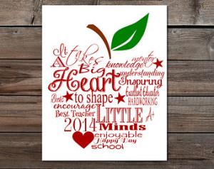 Teacher appreciation gift it takes a big heart to help shape little ...