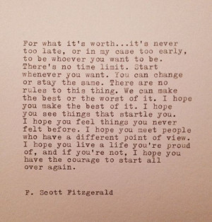 Scott Fitzgerald Hand Typed Quote Made On Typewriter