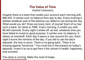 The Value of time- awesome quote!!