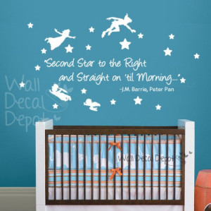 Vinyl Wall Decal Wall Sticker Words Quote - Peter Pan - Second Star to ...