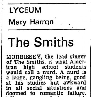 The Smiths at Lyceum, gig review from Guardian 14 February 1984