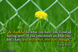 "Inspirational Quote: ""Be thankful for what you have; you'll end up ..."