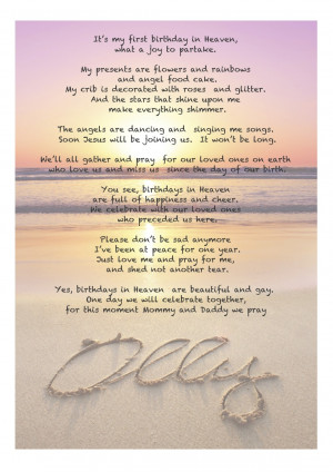 ... took the time to find this beautiful first Birthday in heaven poem