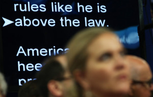 Are Seen Ona Teleprompter During The Republican National Convention