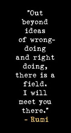 ... doing and right doing, there is a field. I will meet you there