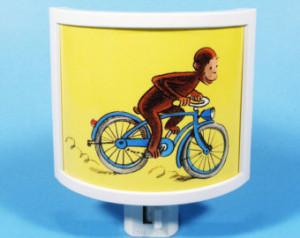 Curious George Rides a Bike vintage kids book Night Light cute nursery ...