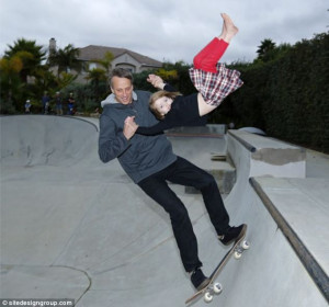 Family fun! Tony Hawk has been criticized for taking his four-year-old ...