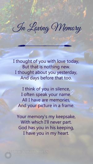 Remembrance Tree Sympathy Poem