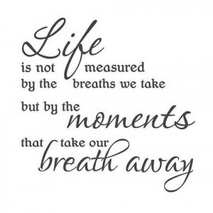 ... We Take But By The Moments That Take Our Breath Away - Life Quote