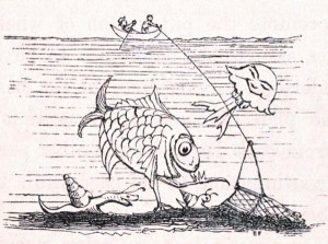 whimsical cartoon depicting deep sea dredging for marine fauna