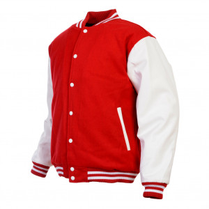 ... Red & White Retro Varsity Wool & Synthetic Leather Letterman Jacket