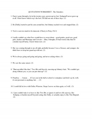 QUOTATIONS WORKSHEET - The Outsiders 1. Darry's gone by zhanzhan0815