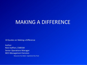 Making a difference quotes by nick staffieri