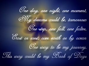 Book Of Days - Enya Song Lyric Quote in Text Image