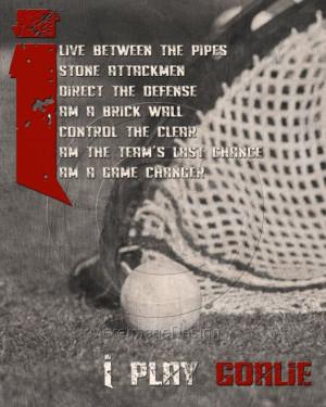 Lacrosse Goalie Quotes Lacrosse goalie motivational poster original ...
