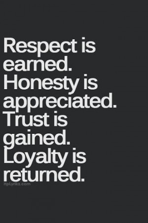 Earned, Honesty Is Appreciated: Quote About Respect Is Earned Honesty ...
