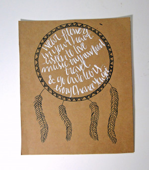 Hand illustrated dream catcher print with quote
