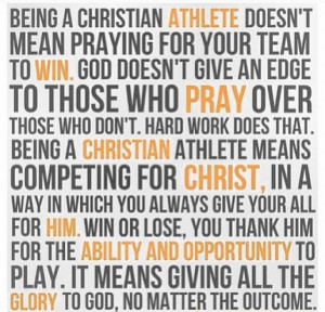 Being a christian athlete doesn't mean praying for your team