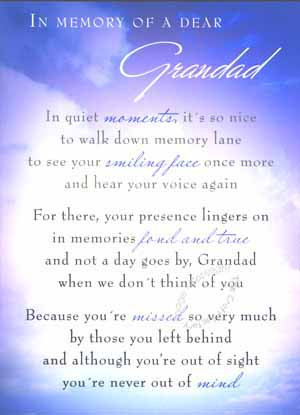 Miss You Grandpa Poems In memory of a dear grandad