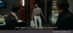 Funny movie quote by Allan on The Hangover .