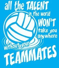 Volleyball - be a team player. Definitely something to work on next ...