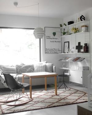 Artek Beehive pendant and vintage coffee table, Andy Warhol quote ...