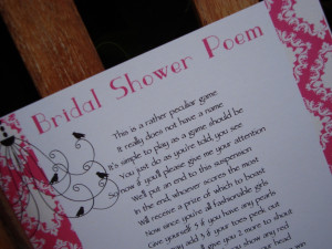 Bridal shower poems are very helpful for the purpose of inviting the ...