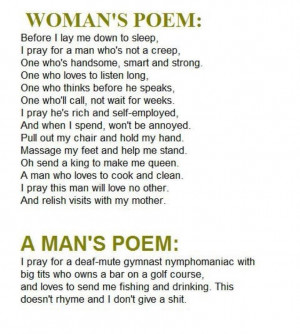 ... » Men vs Women » Difference Between A Poem By A Man And A Woman