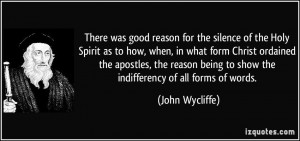 There was good reason for the silence of the Holy Spirit as to how ...