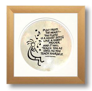 Kokopelli, Flute Music, Calligraphy Art Plaques, Inspirational Gifts