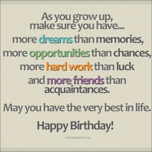 ... acquaintances. May you have the very best in life. Happy Birthday
