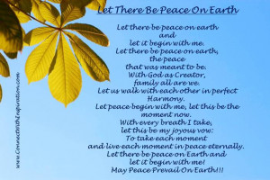 Peace prayer, Let There Be Peace On Earth, green leaf with blue ...