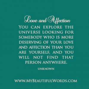 Your Love and Affection...