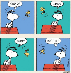 Windy Day Quotes Snoopy and woodchuck windy day cartoon via www ...