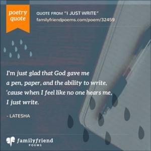 ... ability to write cause when i feel like no one hears me i just write