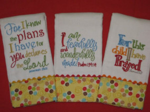 SUPER 3 NEUTRAL Baby Girl Burp Cloths with Precious Bible Verses