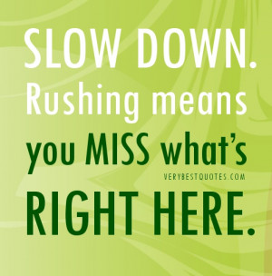Slow down QUOTES. Rushing means you miss what's right here.