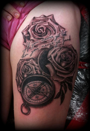 Compass and Roses Tattoo detailed by CalebSlabzzzGraham