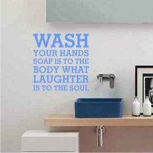... -Hands-WALL-STICKER-QUOTE-ART-Bathroom-Shower-Kitchen-Wash-Room-Clean