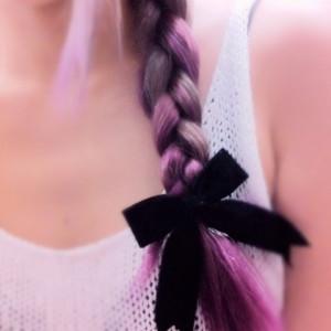 cute, hair, love, pretty, quote, quotes, ribbon, violet hair