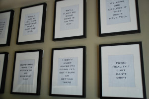 hung the gallery wall of song quotes with command strips. The frames ...