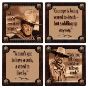 John Wayne Western Photos and His Quotes 4 Piece Coaster Set, NEW ...
