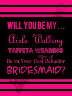 You Be My Bridesmaid Card DIY PrintReady by WeddingsByJamie bridesmaid ...