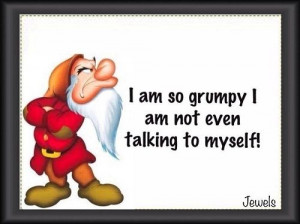 grumpy dwarf   am so grumpy I'm not even talking to myself ...