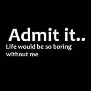 Admit it life would be boring