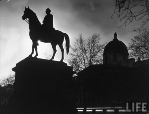 Margaret Bourke-White: Nighttime silhouette view of statue of King ...