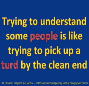 Trying to understand some PEOPLE is like trying to pick up a TURD by ...